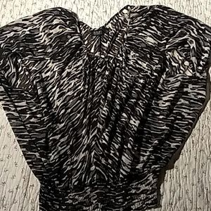 a.n.a, sheer  zebra stripe with rynstones blouse